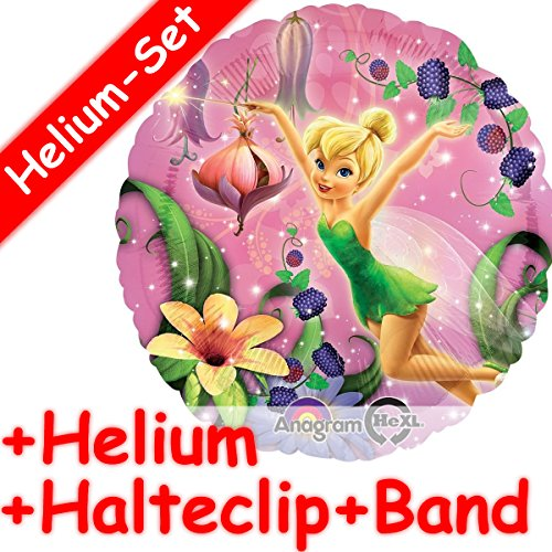 Runder Folienballon Set * TINKERBELL * + HELIUM FÜLLUNG + HALTE CLIP + BAND * für Kindergeburtstag // Folien Ballon Helium Deko Ballongas Motto Mädchen Märchen Phantasie Peter Pan Blumen Disney