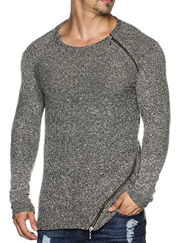 TAZZIO Herren Rundhals Oversize Sweatshirt Pullover Hoodie 1210 Schwarz