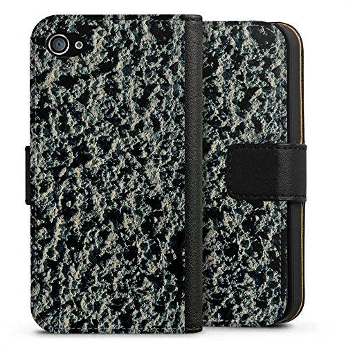 Apple iPhone X Silikon Hülle Case Schutzhülle Lavastein Struktur Stein Muster Sideflip Tasche schwarz