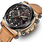Fashion Herren Business Kleid Analog Quarz Armbanduhr Luxus Marke Sport wasserdicht Armbanduhr Multifunktions Braun Echtes Leder Uhr Rose Gold Chronograph