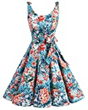 bbonlinedress 1950er Vintage Polka Dots Pinup Retro Rockabilly Kleid Cocktailkleider Blue Red Flower 2XL