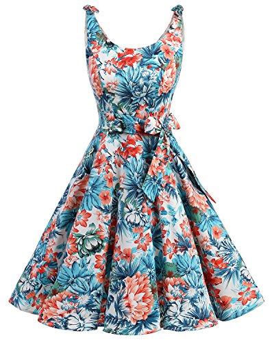 bbonlinedress 1950er Vintage Polka Dots Pinup Retro Rockabilly Kleid Cocktailkleider Blue Red Flower XS
