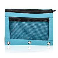 Pencil Bag with Zipper for Kids & Adults by KP Solutions|3 Ring Binder Pouch for Fountain Pens|2 Compartments & Mesh Window|Canvas Organizer|Art Marker & Crayon Carrying Pouch|Washable