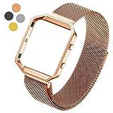 Hanlesi Fitbit Blaze Armband, Edelstahl Armbanduhren Watch Band Fitness für Fitbit Blaze