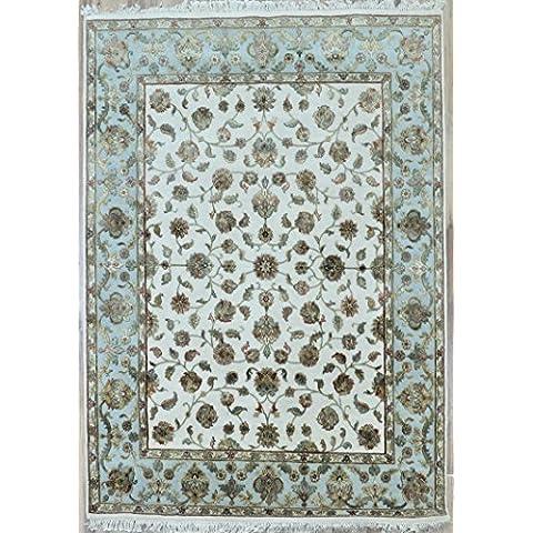 Splendid Indian Art de color azul de lana hechos a mano-marfil luz de área alfombra persa alfombra
