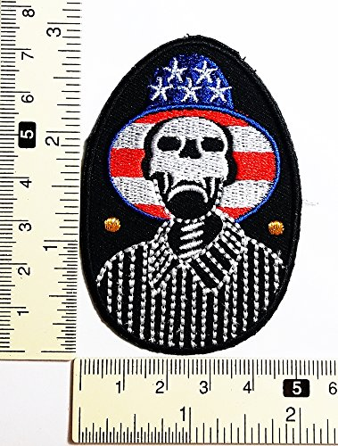 p Skull Rock A Billy Patch Weste/Jacke Biker Patch Motorrad Fahrer Biker Tattoo Jacke T-Shirt Patch Sew Iron on gesticktes Schild Badge (Eisen Auf Halloween-applikationen)