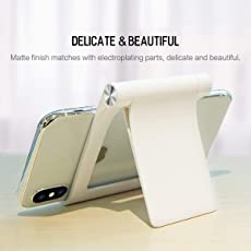Rock Premium Multi Angle Mobile Stand. Phone Holder for iPhone, Android, Samsung, OnePlus, Xiaomi_Parent (White)