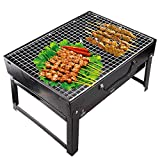 Insasta Folding Portable Outdoor Barbeque Charcoal Bbq Grill Oven Black Carbon Steel, Black