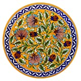 #10: Om Craft Villa Blue Pottery Ceramic Decorative Wall Hanging Handmade Plate ( 8 inch )