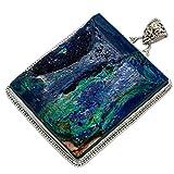 Azurite, Azzurrite 925 Argento Sterling Ciondolo 2 1/4'