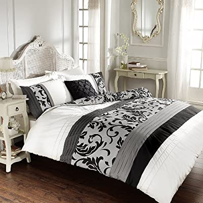 Reversible Floral Pleated Double Bed Duvet Cover Quilt Bedding Set Scroll Black