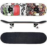 FunTomia® - Skateboard con Cuscinetti ABEC-11 - Ruote a Profilo scanalato (100A) - Legno...
