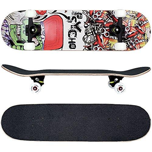 FunTomia - Skateboard con cuscinetti ABEC-11 - ruote a profilo scanalato (100A) - legno d'acero canadese a 7 strati (psycho)