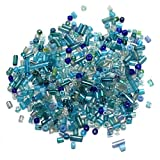 #10: Beadsnfashion Seed Bugles Beads Turquoise Assorted (100 Gm), Size 11/0
