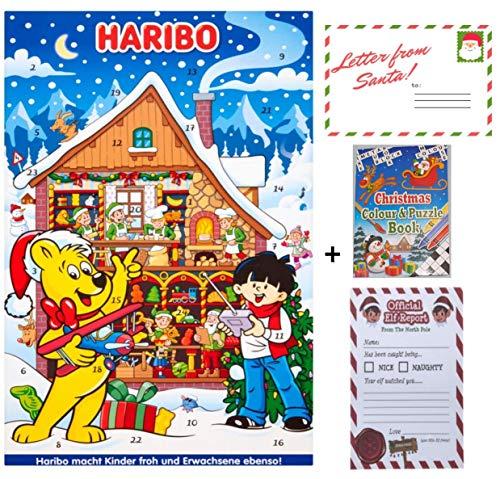 Haribo Adventskalender Süßigkeiten 300g Hamper mit Weihnachten Farbe & Puzzle Aktivität Buch, Brief vom Weihnachtsmann und 25 offizielle Elf Bericht 2019