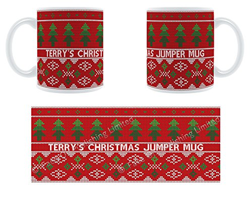 Terry 's Christmas Jumper Tasse-Weihnachten Bäume-geschoben personalisierbar Keramik Tasse Terry Jumper