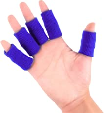 ROSENICE Finger Protector Sleeve Support Stretchy Sports Aid (Blue) - 10pcs