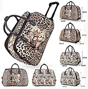 Unisex Travel Holdall Teddy Leopard Print Luggage Suitcase Handle Wheeled Bag