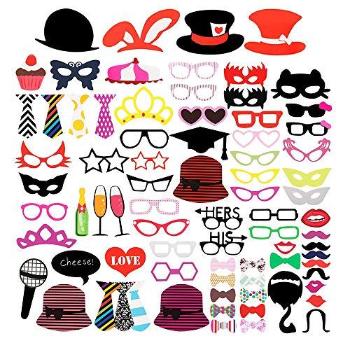 McNory 92Pcs DIY Photo Booth Props Incluyendo Bigotes Gafas Pelo Arcos Sombreros Labios,Boda,Cumpleaños,de la Graduación,Divertida Creativa Accesorios para Fiestas