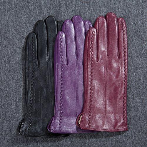 MATSU Casual Femmes Hiver Chaud en cuir gants m9229 - Fresh pink-Non TouchScreen