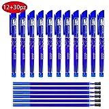 Kit 42packs 12pz Penne Cancellabili Blu Punta Stabile 0.5 mm + 30pz Ricariche per Penne