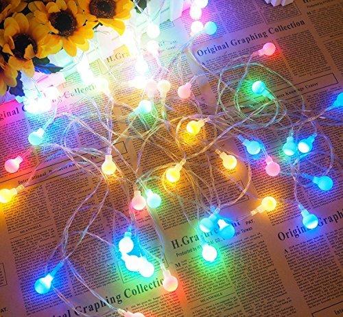 Lichterkett,LED Lichterketten Batteriebetrieben 5m 25er Lichtschlauch mit Batterie Kugeln Bunte für Innen Außen Zimmer Garten Partei CE Geprüft und Niederspannung Sicher