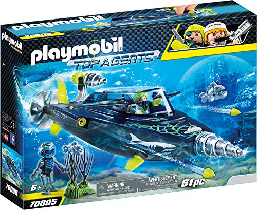 Playmobil 70005 Top Agents Team S.H.A.R.K. Drill Destroyer, bunt