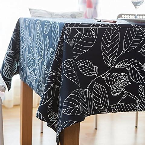 MEICHEN-Abandona la mesa de café mesa mantel de tela mantel redondo Mantel de algodón/poliéster,Azul marino,COJÍN Silla 40*40*2