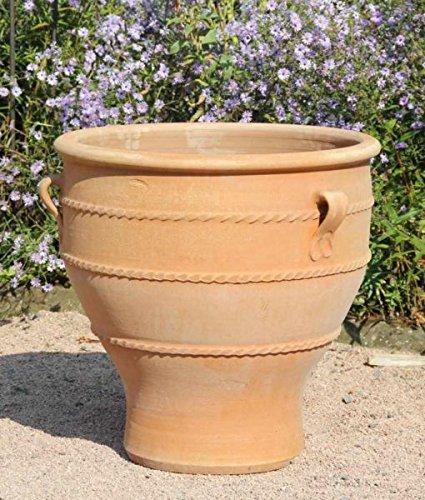 Kreta Keramik, großes Pflanzgefäß aus echte Terracotta, 60 cm, handgemacht und frostfest, mediterraner Blumenkübel Deko Garten Terrasse, Typ: Rosa 60