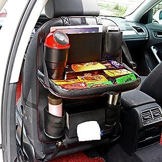 AOZBZ PU-Leder-Auto-Rücksitz-Speicher-Organisator mit Tabletten-Halter, Mehrzweckautositz-Organisator mit 10 Taschen und faltbarem Tischbehälter für Auto-Ordnung