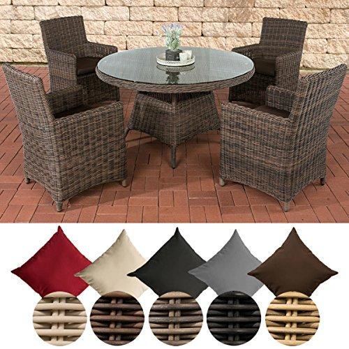 CLP Polyrattan-Sitzgruppe PINELLA mit Polsterauflagen | Garten-Set bestehend aus einem Esstisch und vier Gartenstühlen | In verschiedenen Farben erhältlich Bezugfarbe: Terrabraun, Rattan Farbe braun-meliert