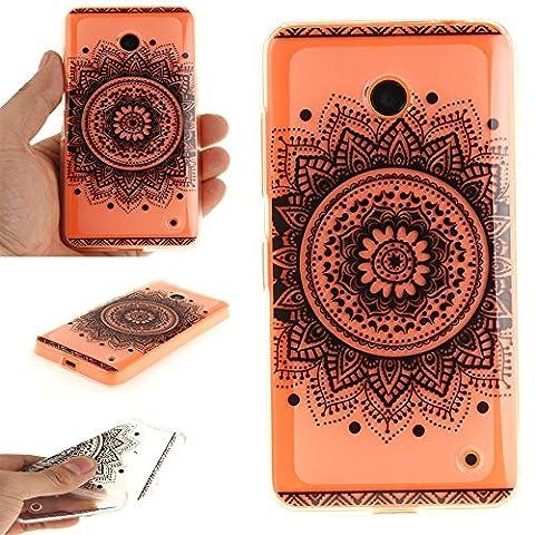 Coque Nokia Lumia 630/635, MCHSHOP Ultra-mince TPU Silicone Housse Protecteur Cover souple Phone Housse Coque de protection pour Microsoft Nokia Lumia 630/635 - 1 gratuit Touch Pen (Fleur noire de mandala)
