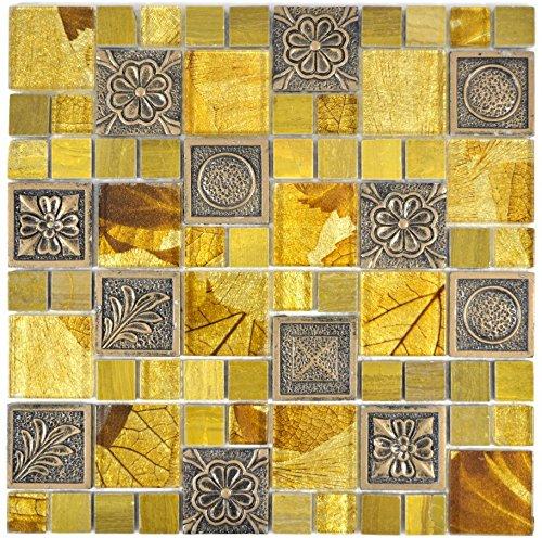 Mosaico azulejos translúcido Oro Combinación Cristal