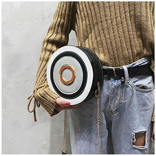 BZLine® Frauen Mode Paneled Circular Handtasche Crossbody Schultertaschen Grau