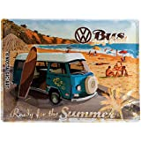 Nostalgic-Art VW Bulli Ready for The Summer Placa Decorativa, Metal, Multicolor, 30 x 40 cm