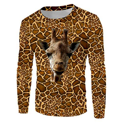 Lady Langarm-Leopard-Druck-Sweatshirt 3D Printed Hip Hop Giraffe Kostüm Pullover Giraffe (Womens Giraffe Kostüm)
