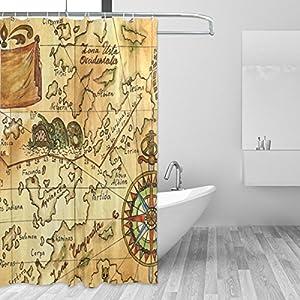COOSUN – Cortina de ducha con diseño de mapa de pirata antiguo, con rosas de viento, tejido de poliéster, repelente al agua, cortina de baño para decoración del hogar con ganchos, 182,88 x 182,88 cm