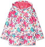 Hatley Girl's Printed Raincoat, White (Tortuga Bay Floral), 8 Years