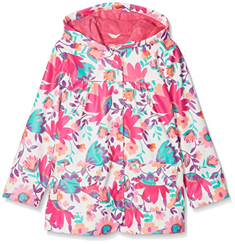 Hatley Girl's Printed Raincoat, White (Tortuga Bay Floral), 5 Years