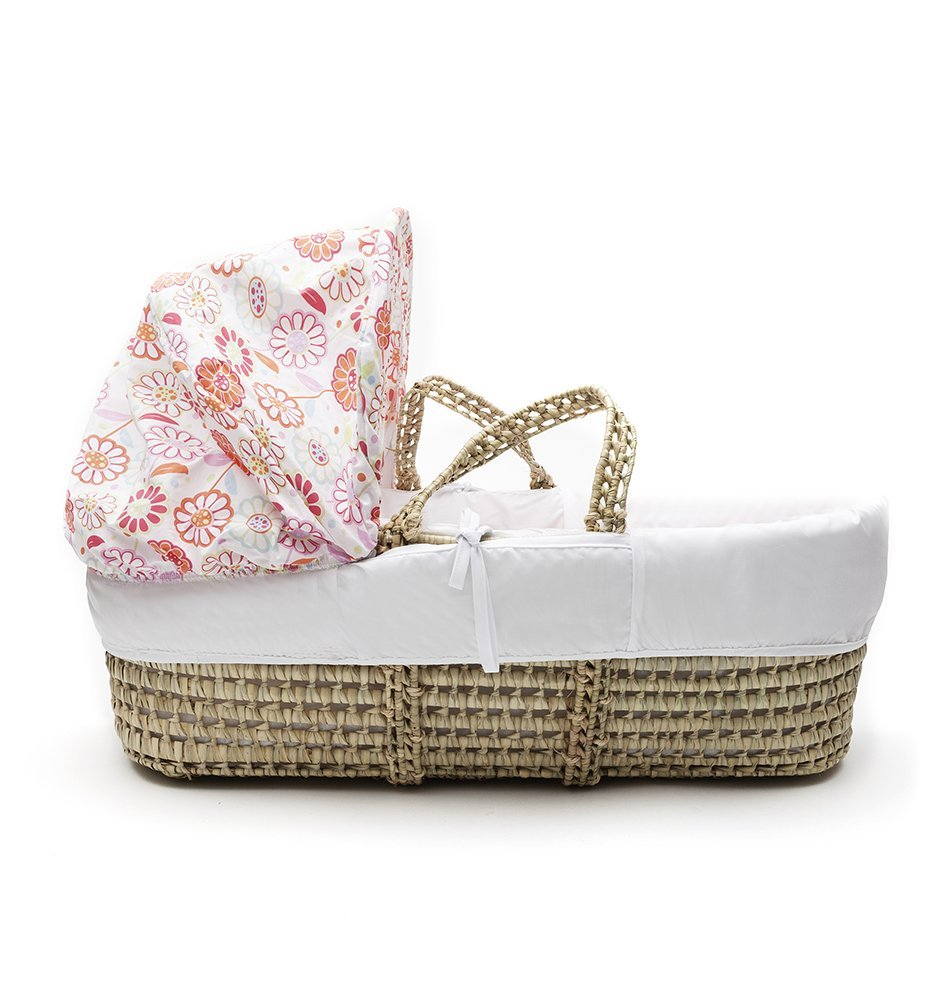 Funky Flowers Palm Moses Basket & Folding Stand Elegant Baby Suitable from newborn for up to 9kg, this Moses Basket uses Easy-care Poly Cotton with a soft padding surround Suitable from newborn to 9 months It also includes a comfortable mattress and an adjustable hood perfect to create a cosy sleeping space for your precious little one 3