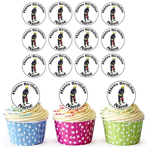 Vorgeschnittener Personalisierter Feuerwehrmann - Essbare Cupcake Topper / Kuchendekorationen (24 Stück)
