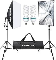 """SAMTIAN 2X85W Glühbirnen Kontinuierliche Beleuchtung Kit 20""""x28"""" / 50x70cm Softbox Fotostudio Licht Set mit 2M Licht Stand und 5500K Fotografie E27 Socket Soft Box"""