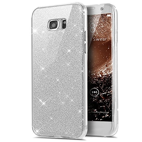 Kompatibel mit Galaxy S7 Hülle,Galaxy S7 Schutzhülle,Full-Body 360 Grad Bling Glänzend Glitzer Klar Durchsichtige TPU Silikon Hülle Handyhülle Tasche Case Front Cover Schutzhülle für Galaxy S7,Silber