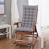 Silla de bambu, cojin de algodon, silla reclinable para viejo, plegable y silla mecedora free otoño - invierno de caña, engrosamiento de ocio (sin sillas) cojin,Cojín del asiento de un recliner,48 * 120 esos Silver ash