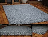 Soft Touch Shaggy Silver Thick Luxurious Soft 5cm Dense Pile Rug. Available in 7 Sizes (80cm x 150cm) by Rugs Supermarket