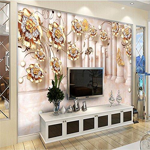 Preisvergleich Produktbild Chlwx Custom 3D Wallpaper Gold Rose Blume Rattan Stein Römische Säule 3D Wallpaper Sofa Wohnzimmer Schlafzimmer Tv-Wand 200Cmx150Cm