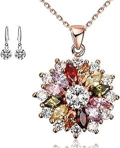 Collana da donna Collana con ciondolo in zircone in oro rosa Orecchini con fiori colorati placcati in oro/Orecchini delicati per regali da donna