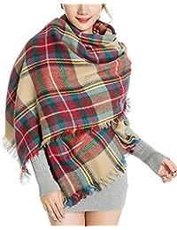 27405421f95979 UMIPUBO Sciarpa Donna Inverno, donna inverno scialle maglione cappotto Girl  grandi Tartan Wrap Maglia Scialle