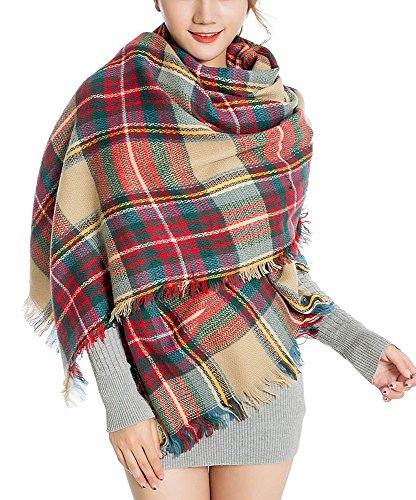Abrigo de la bufanda del mantón de la tela escocesa de Cozy Chequeado Mujeres Señora Manta Tartán de gran tamaño (Blanco crema y rojo)