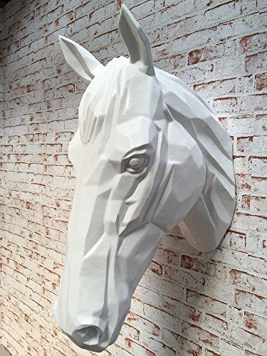 Pferdekopf Wand Figur Skulptur Horse Pferd Kopf Wandschmuck Dekoration in weiss silber schwarz 67 cm hoch (weiss) (Pferdekopf Figur)